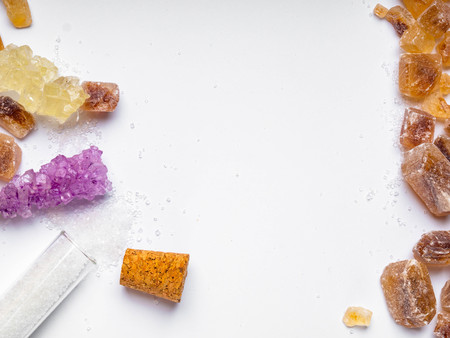 various types of sugar on white background, copy space