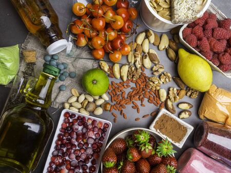 Healthy food clean eating selection on gray concrete background