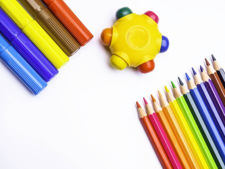 School college accessories supplies -colorful markers, pencils Back to school, copy space