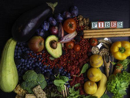 High Fiber Foods. Healthy balanced dieting concept. Top view Zdjęcie Seryjne