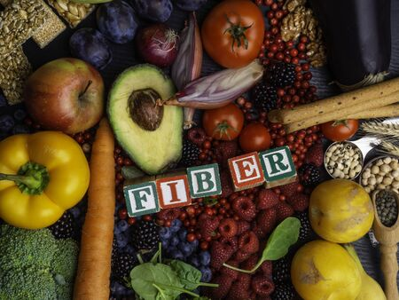 High Fiber Foods. Healthy balanced dieting concept, rich in vitamin and antioxidants Top view
