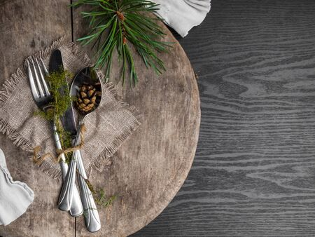 knife fork spoon on wooden background. Cutlery on wooden. 写真素材