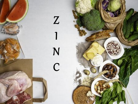 Foods High in Zinc as salmon, shrimps, beef, cheese, waterlemon, spinach, chia seeds, garlic, bean nuts mulberries broccoli, buckwheat dairy products. Top view