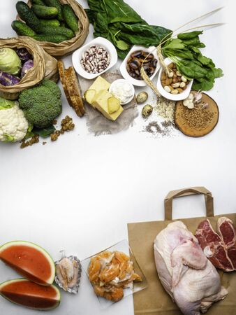 Foods High in Zinc as salmon, shrimps, beef, yellow cheese, spinach, mushrooms, cocoa, pumpkin seeds, garlic, bean and almonds. Top view