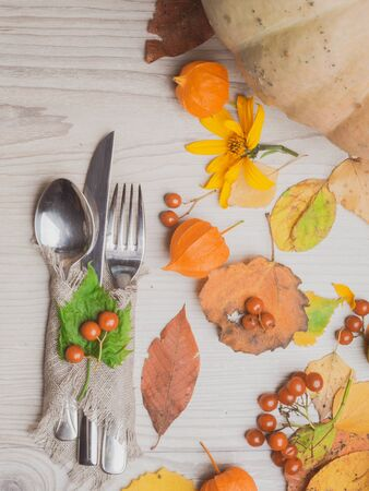 Thanksgiving autumn fall table setting copy space background, with pumpkin, leaf, red berries, holiday concept