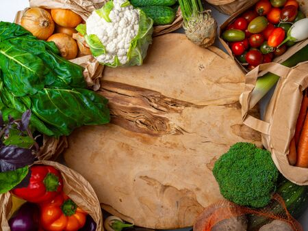 Alkaline foods above the wooden background, Clean eating