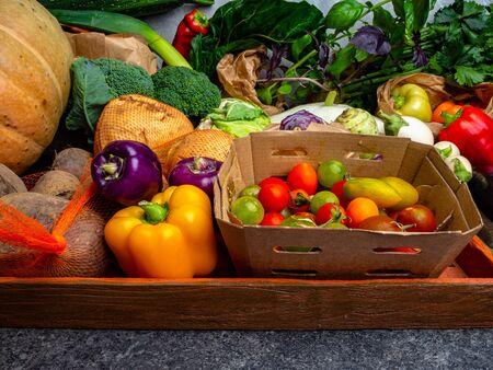 Fresh vegetables on wooden background. Organic fresh harvested vegetables