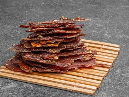 dried meat pieces, dehydrateed slices in spices