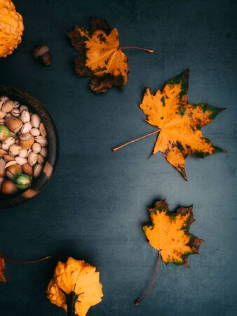 Wooden bowl with mixed nuts. Healthy food and snack, pistachios, almonds, hazelnuts and pumpkin seeds, autumn harvest, coopy space