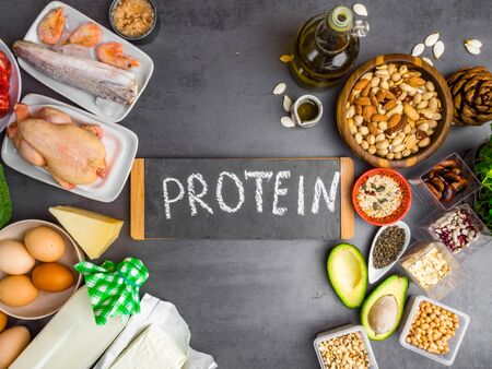 Health and body building food, Healthy Ingredients for protein diet, foods natural protein source