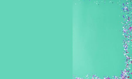 Closeup of trendy green mint colored background with empty space. Color trend concept. Festive postcard. Top view, flat lay Year color trend Banco de Imagens
