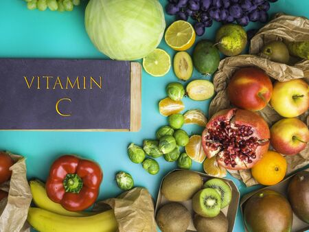 Healthy diet - sources of Vitamin C - bell pepper, kiwi, grape, cabbage, lemon, mango, pomegranate, tomatoes, feijoa, tomatoes apples pear mandarin brussel sprouts bananas