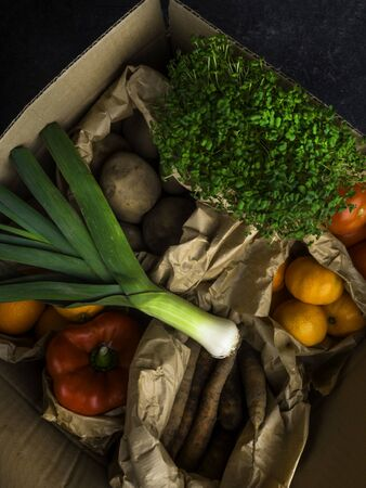 Full zero waste paper bags of different health food, vegetables and fruits, health food, rich in vitamin, antioxidants, fiber, brown paper bags with organic fresh harvest from the farm, selected focus, close up