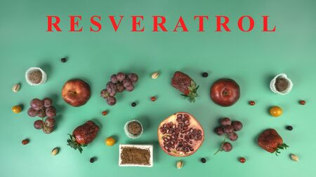 food rich with resveratrol, polyphenols, fruits, berries, nuts, chocolate or cacoa, foods rich in antioxidants, helps to boosting immune system, top view, flat lay