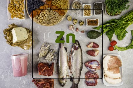 Variety of foods containing Zinc minerals , natural sources of minerals, healthy lifestyle and nutrition