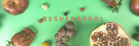 food rich with resveratrol, polyphenols, fruits, berries, nut, foods rich in antioxidants, helps to boosting immune system, good for heart health, top view, flat lay, creative toned, banner