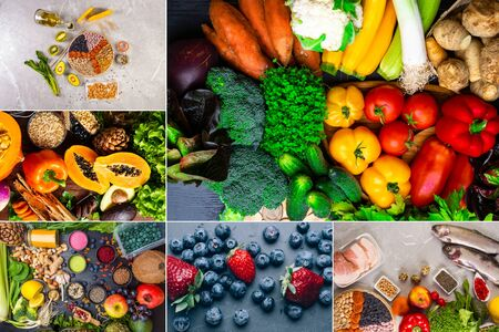 superfoods selections in antioxidants, vitamin, dietary fibre, healthy food for balanced and flexible diet and detox. High resolution product