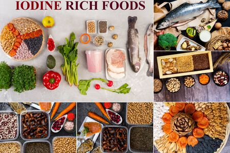 assortment of Food rich of iodine, healthy food containing iodine, vitamins, antioxidants and micronutrients