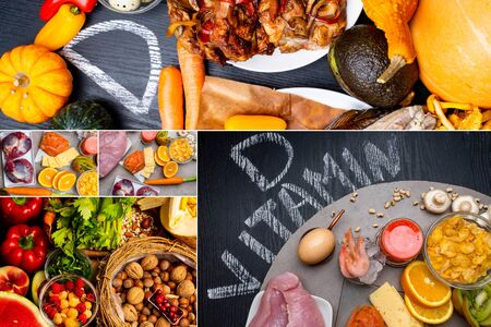 Collage of foods sources containing highest vitamin D, Healthy eating concept. Flat lay 版權商用圖片