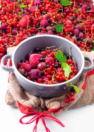 Assorted of fresh ripe berries in bowl. Selectve focus close up Stock fotó