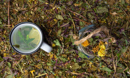 assortment of dry healing herbs and tea in cup with lemon and mint. Alternative medicine concept