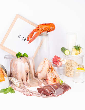 Vitamin B12 containing foods, rich in cobalamin products. Healthy eating concept Stock fotó