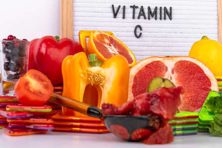 Products containing Vitamin C, antioxidant, fiber in fruits and vegetables. Healthy eating. Boost immune system and brain products