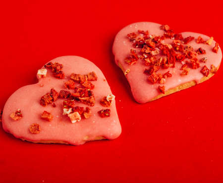 two red cookies Heart Shaped for valentine's day, love concept