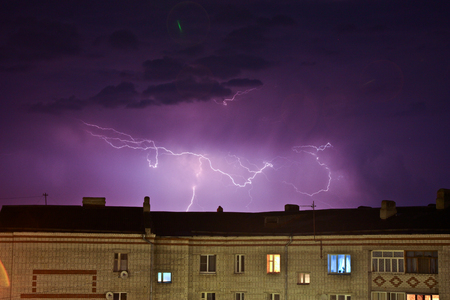Thunderstorm over the city  photo