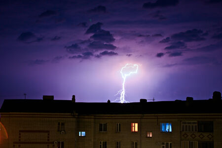 lightning struck the city  photo
