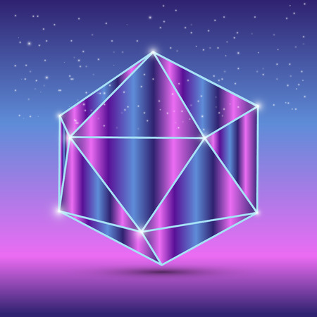 icosahedron: Abstract isometric octahedron with the reflection of the space Illustration