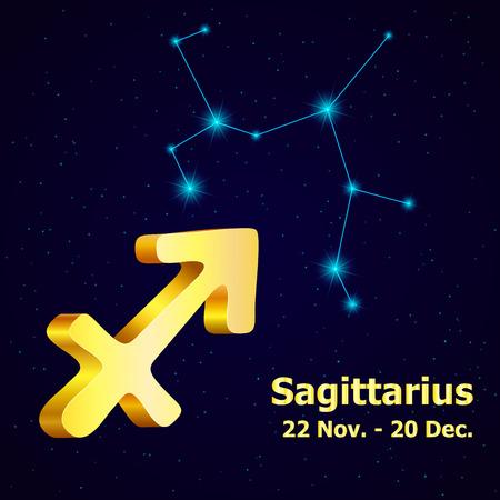fortuna: Vector  zodiac sign Sagittarius. Astrology. Gold Sagittarius constellation. Illustration