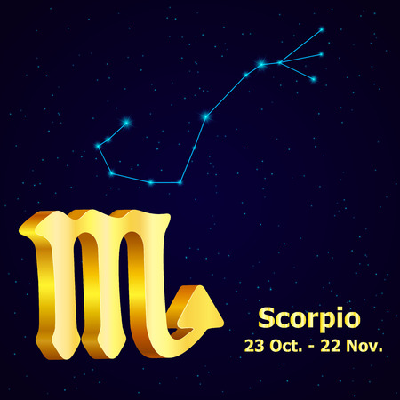fortuna: Vector  zodiac sign Scorpio. Astrology. Gold Scorpio constellation.