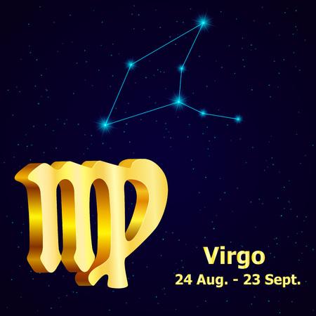 fortuna: Vector  zodiac sign Virgo. Astrology. Gold Virgo constellation. Illustration