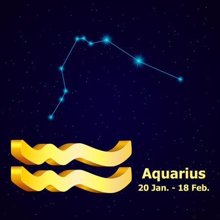 fortuna: Vector  zodiac sign Aquarius. Astrology. Gold Aquarius constellation.