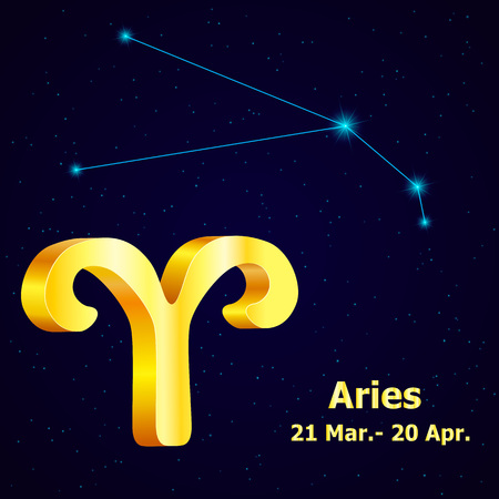fortuna: Vector  zodiac sign Aries. Astrology. Gold Aries constellation.