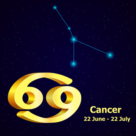 fortuna: Vector  zodiac sign Cancer. Astrology. Gold Cancer constellation.