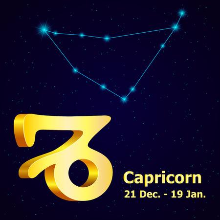 fortuna: Vector  zodiac sign Capricorn. Astrology. Gold Capricorn constellation. Illustration