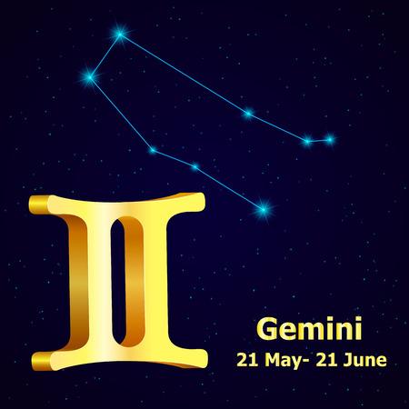 fortuna: Vector  zodiac sign Gemini. Astrology. Gold Gemini constellation.