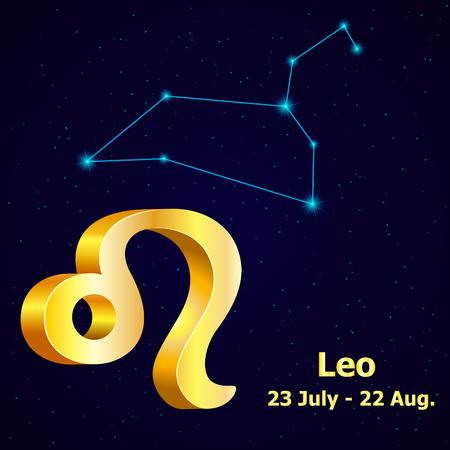 fortuna: Vector  zodiac sign Leo. Astrology. Gold Leo constellation. Illustration
