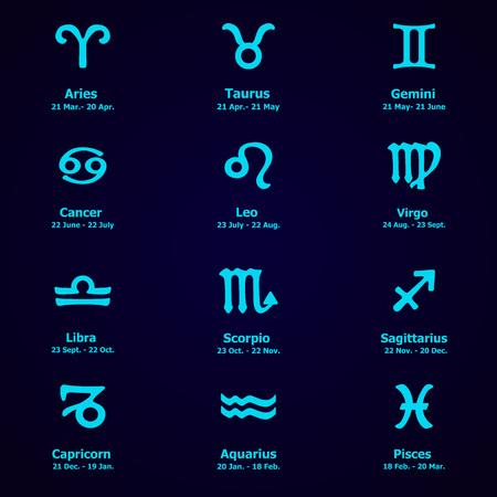 fortuna: Zodiac icons. Horoscope set: Leo, Virgo, Scorpio, Libra, Aquarius, Sagitarius, Pisces, Capricorn, Taurus, Aries, Gemini, Cancer. Vector illustration