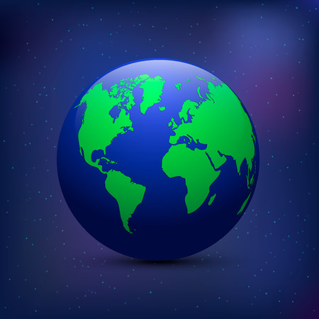 earth from space: Earth icon. Earth on the space background with stars.