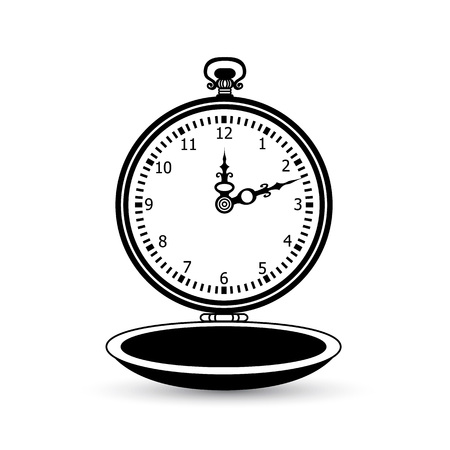 reloj antiguo icono de bolsillo de la vendimia en el fondo blanco. Ilustración del vector.