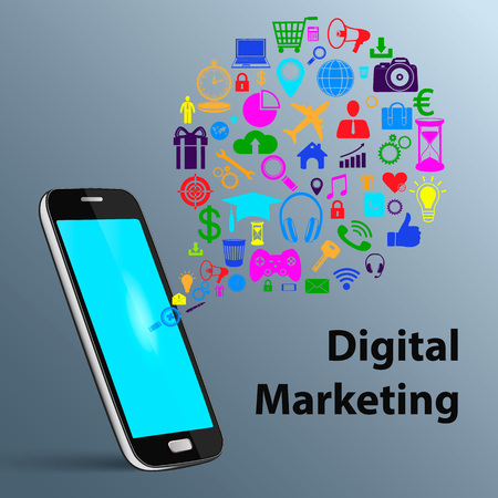 mobile marketing: Social media networking, mobile phone computer with application icon, technology business software idea concept, digital marketing. Hologram.