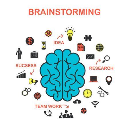 Il concetto di brainstorming, il concetto di marketing. Idea creativa. Illustrazione vettoriale