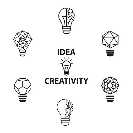 invent: Creative brain Idea and light bulb concept, design for poster flyer cover brochure, business idea, education concept.vector illustration