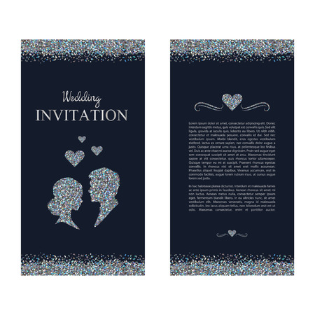 nuptial: Wedding invitation. Wedding card with silver shiny shimmer. Save the date. Vector illustration