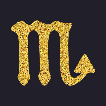 the art of divination: Golden shiny symbol scorpio on a black background. Vector illustration