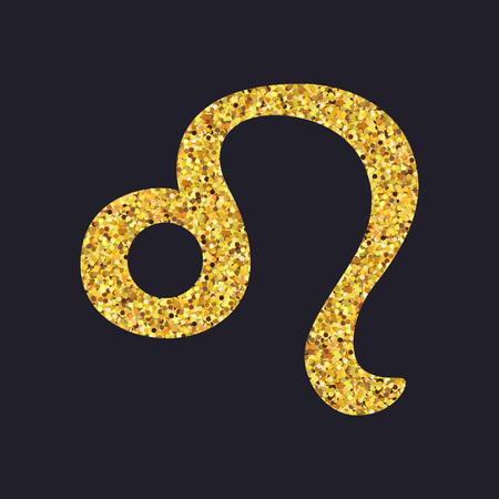 prophecy: Golden shiny symbol leo on a black background. Vector illustration