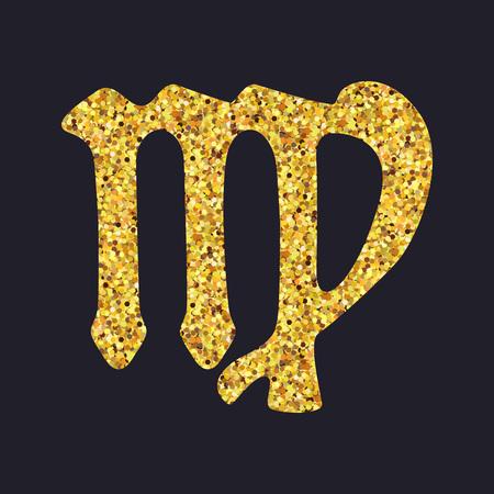 the art of divination: Golden shiny symbol virgo on a black background. Vector illustration